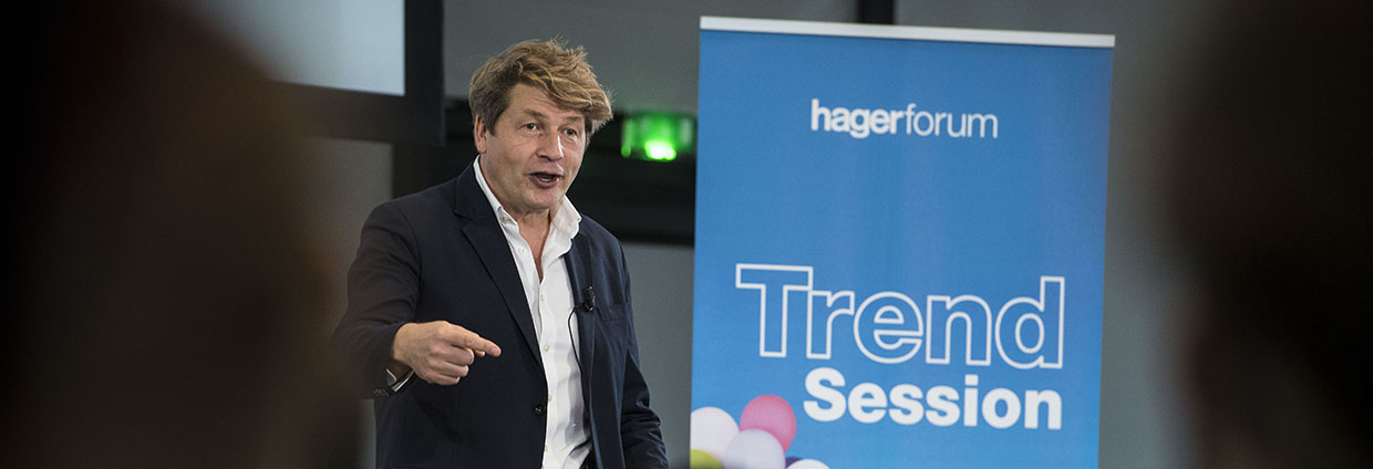 Event and conference Trend Session #7 at Hager Forum on 29.09.2018: Expert Leo Johnson talks about circular economy as sustainable alternative for our future.